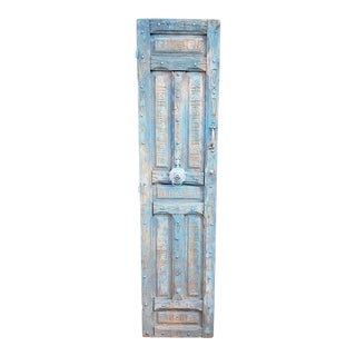 1940s Vintage Single Panel Moroccan Light Blue Wooden Door For Sale