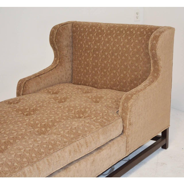 Traditional Mid-Century Modern Wingback Chaise with Walnut Legs and Stretchers For Sale - Image 3 of 5