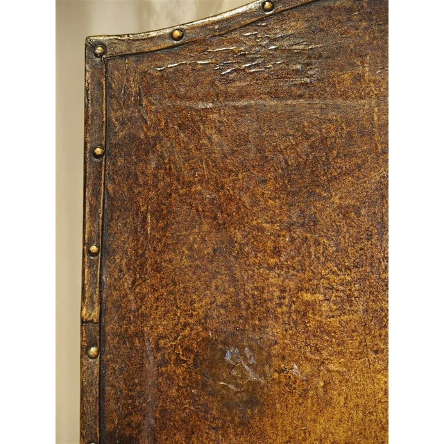 Green Antique Painted English Four Panel Leather Screen, 19th Century For Sale - Image 8 of 13