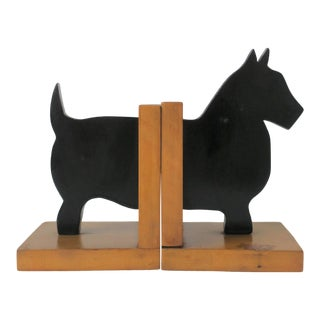Pair of Black Scottish 'Scottie' Terrier Dog Bookends For Sale