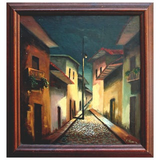 Quiet Street in Spain at Night Painting For Sale