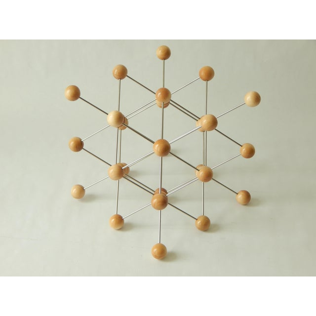 Wood and Stainless Steel Molecular Model Sculpture For Sale - Image 4 of 7