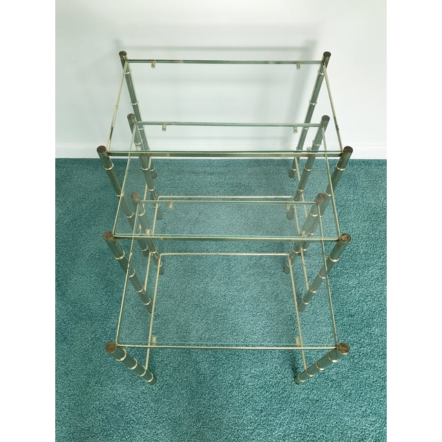 Vintage Glass Top and Metal Nesting Tables- Set of 3 For Sale - Image 13 of 13