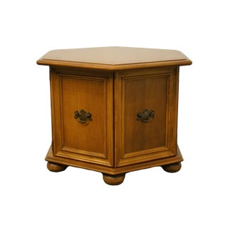 Ethan Allen Heirloom Nutmeg Maple Hexagonal Storage End Table 10-8627 For Sale