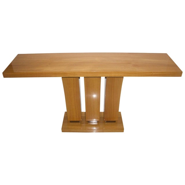 Vintage Karl Springer Style Console Table Satinwood - 2 Are Available For Sale In West Palm - Image 6 of 7