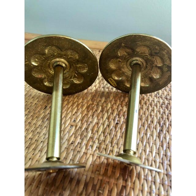 Hollywood Regency Brass Floral Curtain Tie Backs- a Pair For Sale - Image 3 of 5