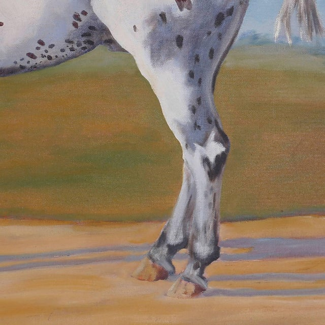 Mid 20th Century Oil Painting of a Horse on Board For Sale - Image 5 of 6
