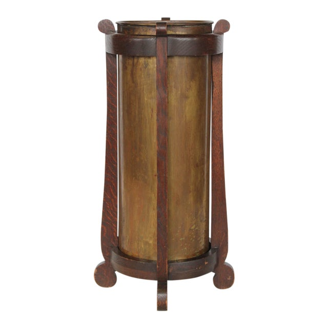 Mission Oak and Brass Umbrella Stand by the Lakeside Craft Shops For Sale