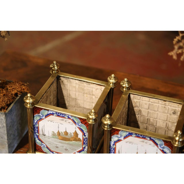 Metal English Brass Jardinières With Hand Painted Porcelain Tiles - a Pair For Sale - Image 7 of 10