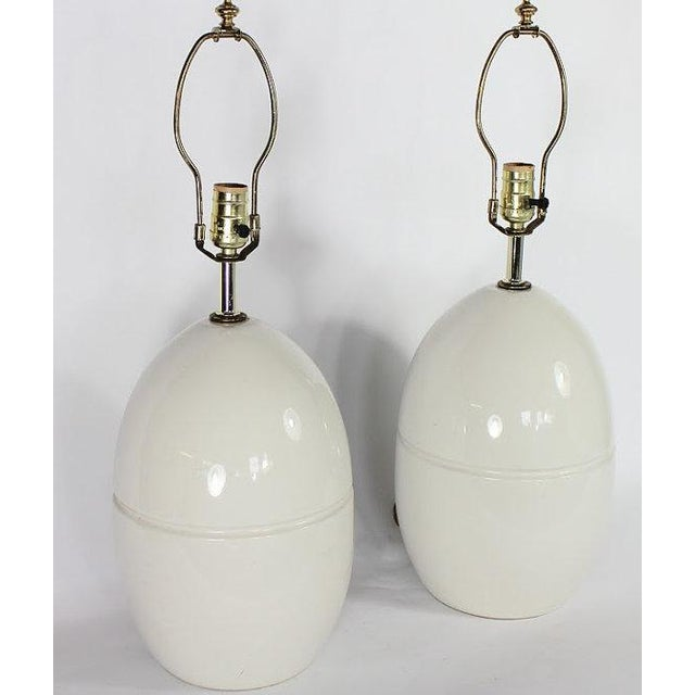 1970s Modern Ceramic Egg Lamps - A Pair - Image 3 of 5