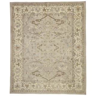 Contemporary Turkish Oushak Area Rug With Neutral Earth-Tone Colors, 11'00 X 13'04 For Sale
