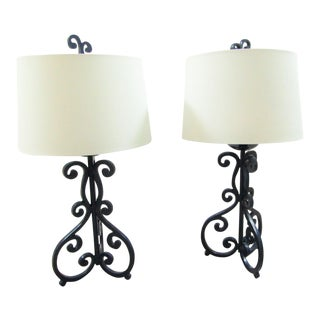 1990s Wrought Iron Lamps - A Pair For Sale