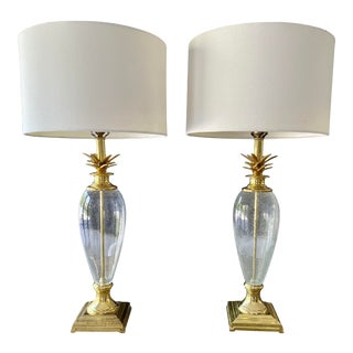 Pineapple Style Blown Glass Lamps, Pair For Sale