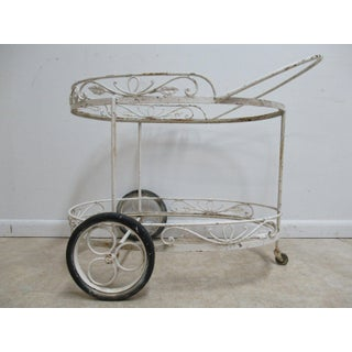 Antique Wrought Iron Oval Patio Serving Cart Preview