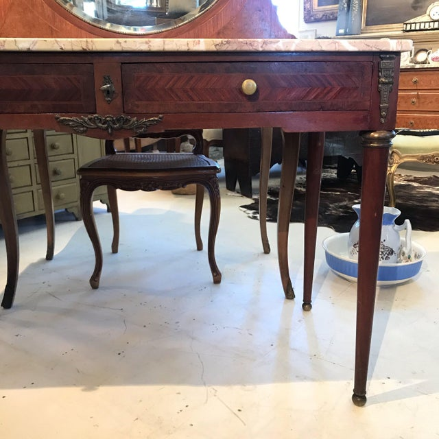 Early 20th Century Early 20th Century French Louis XVI Style Marble Top Dressing Table or Vanity For Sale - Image 5 of 12