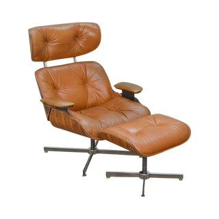 Eames Style Mid Century Modern Brown Leather Lounge Chair & Ottoman by Selig