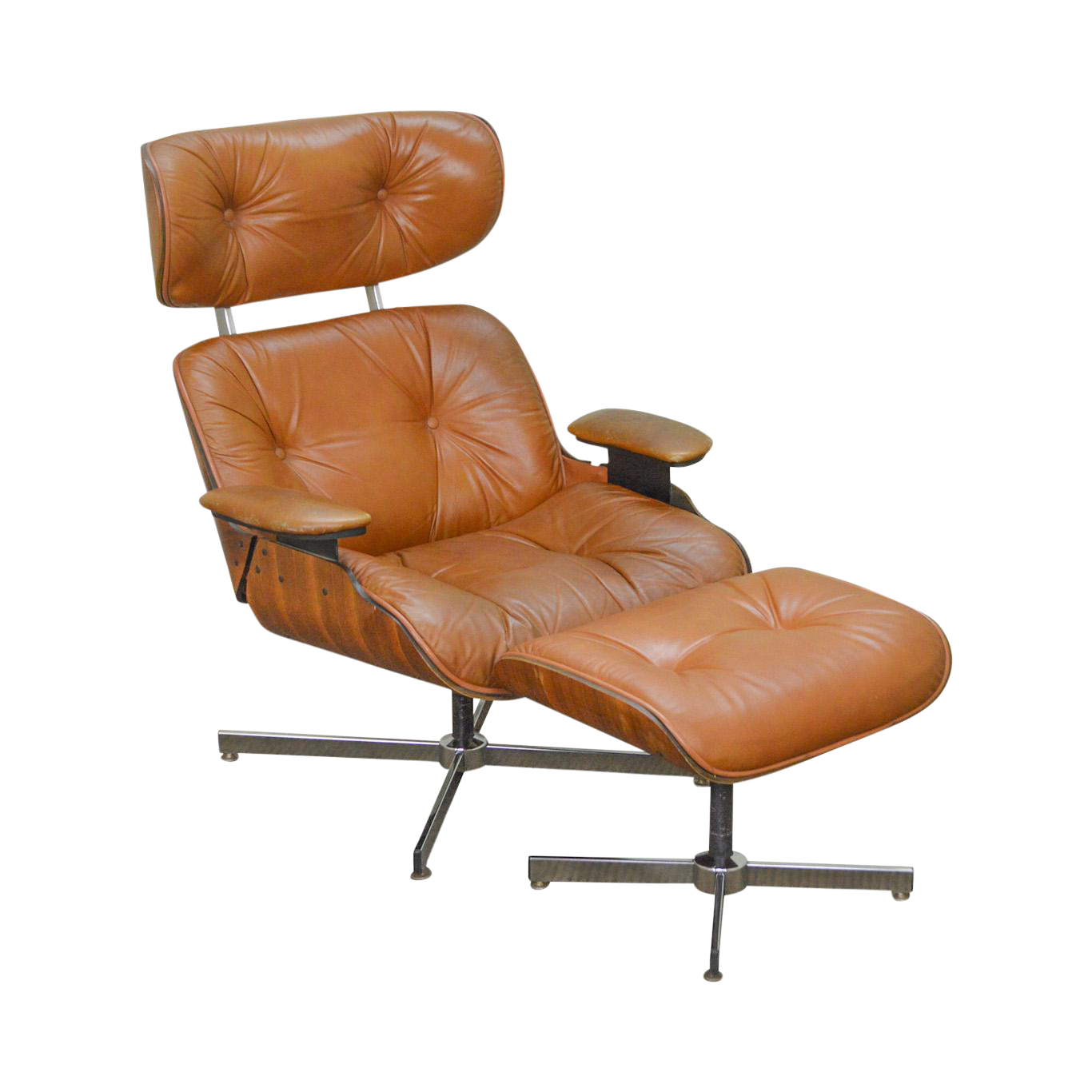 Eames Style Mid Century Modern Brown Leather Lounge Chair U0026 Ottoman By Selig