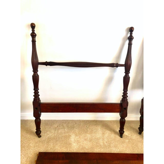 Early 20th Century Federal Mahogany Carved Four Post Twin Beds - a Pair For Sale - Image 4 of 7