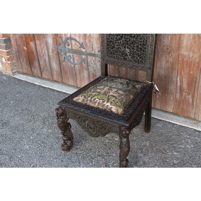 Late 18th Century Anglo-Indian Intricate Carved Chair For Sale - Image 5 of 12