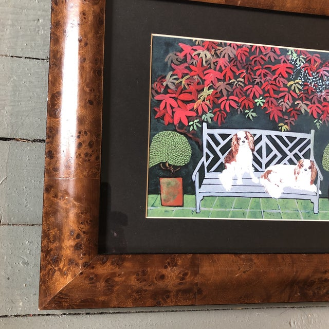 Contemporary King Charles Spaniel Dog Print by Judy Henn Burled Wood Frame For Sale - Image 3 of 5