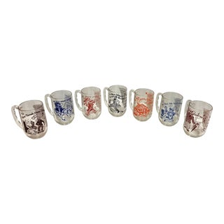 1950s Hazel Atlas Glass Song Lyric Mugs - Set of 7 For Sale