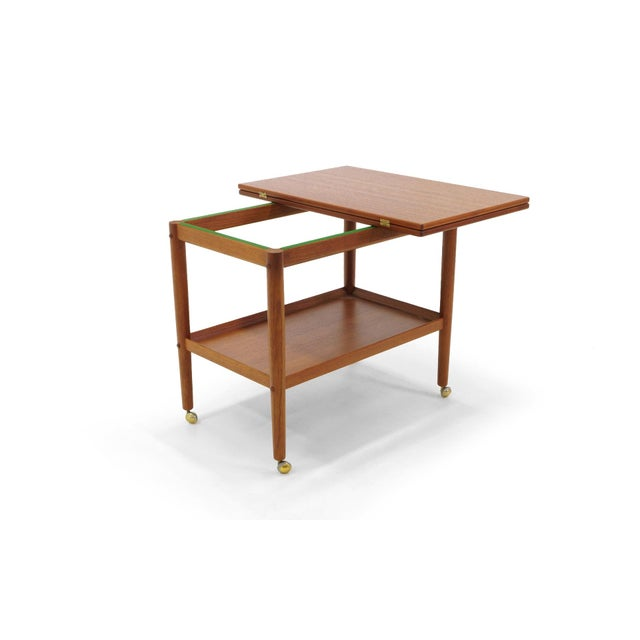 Grete Jalk Teak Serving Cart or Bar Trolley, Expandable Top For Sale In Kansas City - Image 6 of 11