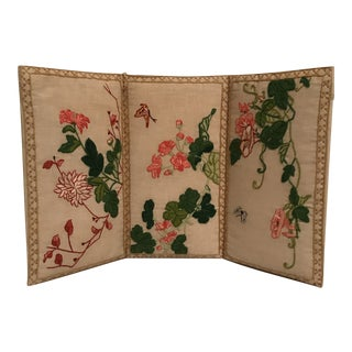 Small Floral Crewel Work Screen For Sale