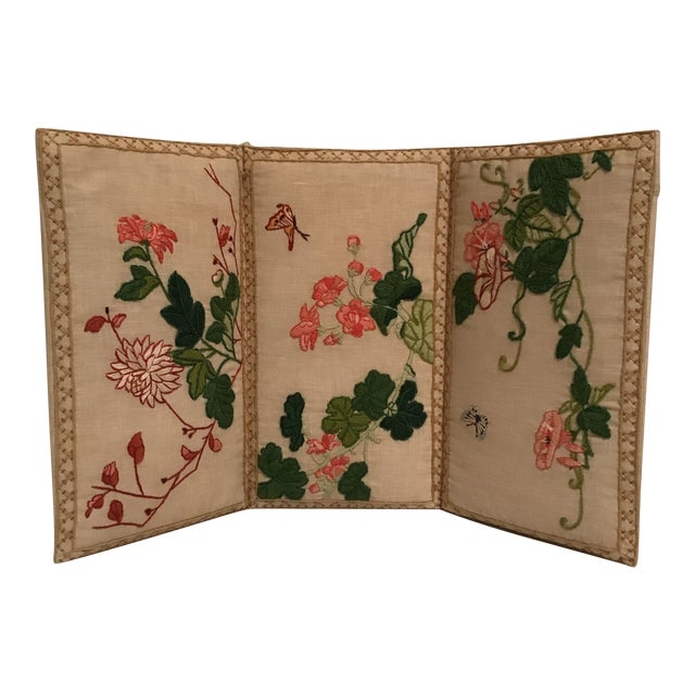 Small Floral Crewelwork Screen For Sale