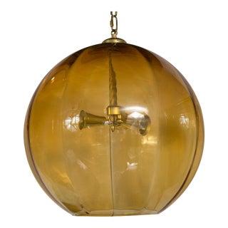 Vintage Murano Amber Globe Ceiling Fixture
