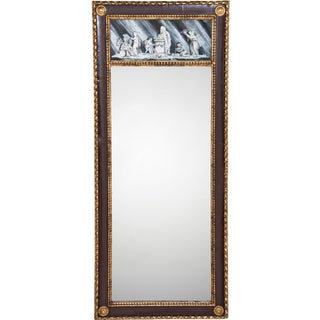 19th Century Continental Antique Pier Mirror with Eglomise Panel For Sale