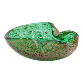 Art Deco Italian Murano Green and Gold Glass Dish For Sale