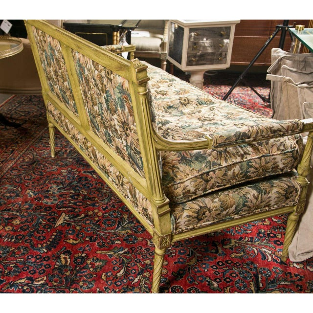 French Louis XVI Style Painted Settee by Jansen - Image 6 of 7