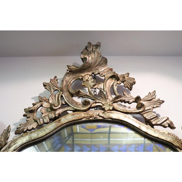 1950s 20th Century Italian Louis XV Style Silvered Wood Antique Wall Mirror For Sale - Image 5 of 13