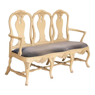 Antique White Painted Swedish Rococo Settee For Sale