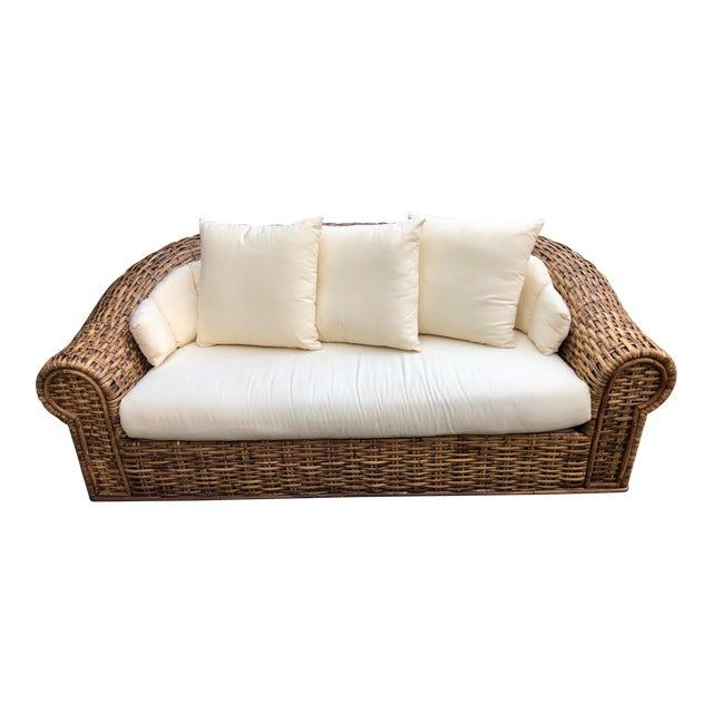 1980s Vintage Oversized Split Bamboo Sofa For Sale