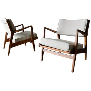 1960s Vintage Jens Risom Walnut Lounge Chairs- A Pair For Sale