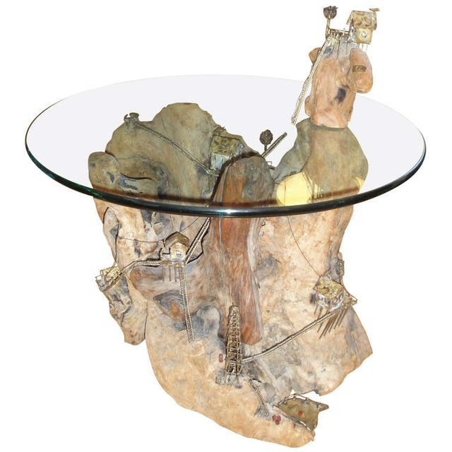 Unique Torch-Cut / Driftwood End Table - Image 1 of 8