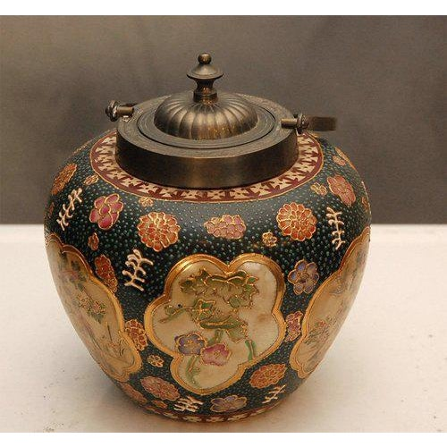 Gold Satsuma Biscuit Barrel with Lid For Sale - Image 8 of 10