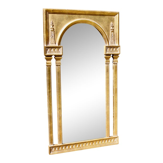 "Vintage 51"" Antique Gold Gilt French Neoclassical Obelisk Mirror For Sale"