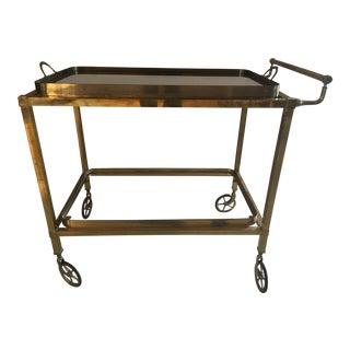 Mid Century Modern Rolling Brass Bar Cart