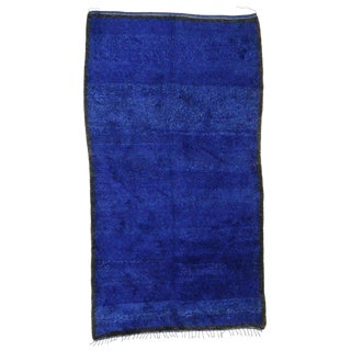 20th Century Moroccan Blue Indigo Beni M'Guild Rug - 6′ × 10′10″ For Sale