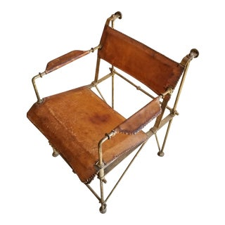 Ilana Goor Bronze and Leather Arm Chair For Sale
