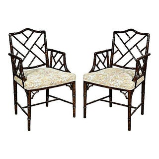 1960's Faux-Bamboo Armchairs - Pair