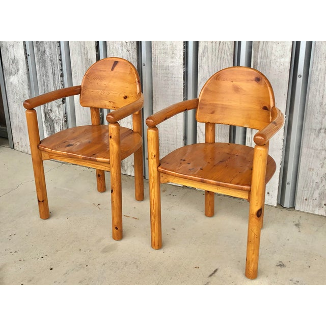 """1970's pine arm chairs designed by Rainer Daumiller. Made in Denmark. Seat h 18"""", arm 27"""""""