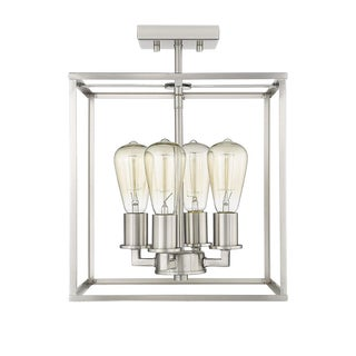 Brooklyn 4 Light Semi-Flush Ceiling, Satin Nickel For Sale