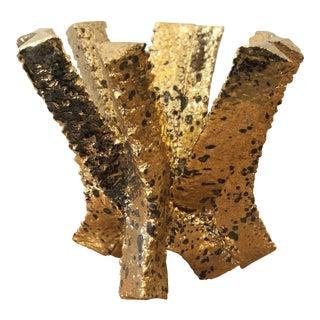 Italian Ceramic Gold Open Vase For Sale