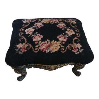 1930's Vintage Victorian Cast Iron Needlepoint Footstool For Sale