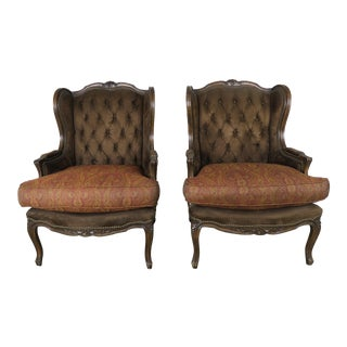 Pair of Louis XV Tufted Wingback Bergeres, Pair For Sale