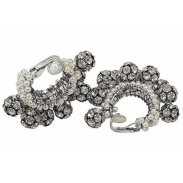 Silver 1960s Rhinestone & Faux-Pearl Earrings For Sale - Image 8 of 12