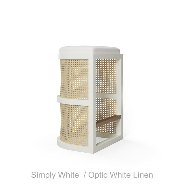 Contemporary Isabella Bar Stool - Smoked Wood Oak, Optic White Linen For Sale - Image 3 of 5